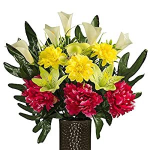 Fuchsia Peony with Yellow Dahlias and Orchids, featuring the Stay-In-The-Vase Design(C) Flower Holder (SM1998) 108