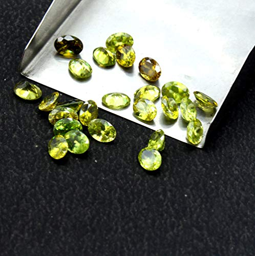 4x6mm Oval 5 Pieces Natural Sphene Faceted Loose Gemstone Calibrated Green ()