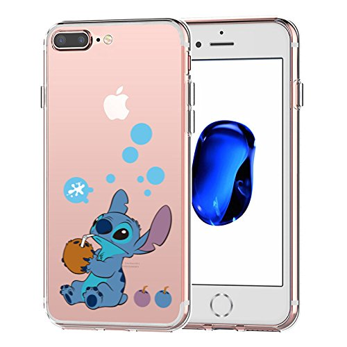 iPhone 7 Plus CASE,iPhone 8 Plus CASE, Stitch Drink Coconut Milk 3D Printed Soft Clear Cute Case
