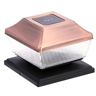 Outdoor Solar Copper LED Post-Light (2-Pack)