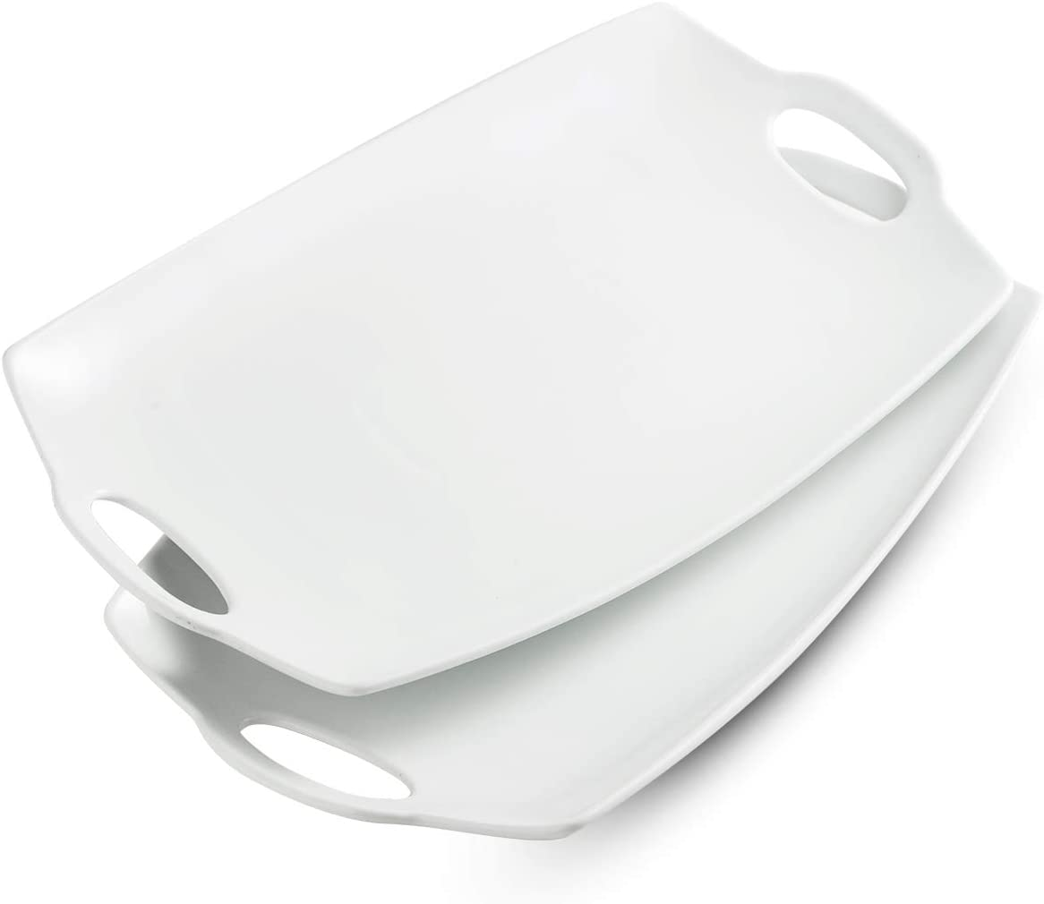Serving Tray with Handle Exrta Large Porcelain Serving Platter Perfet for Display 16-Inch White