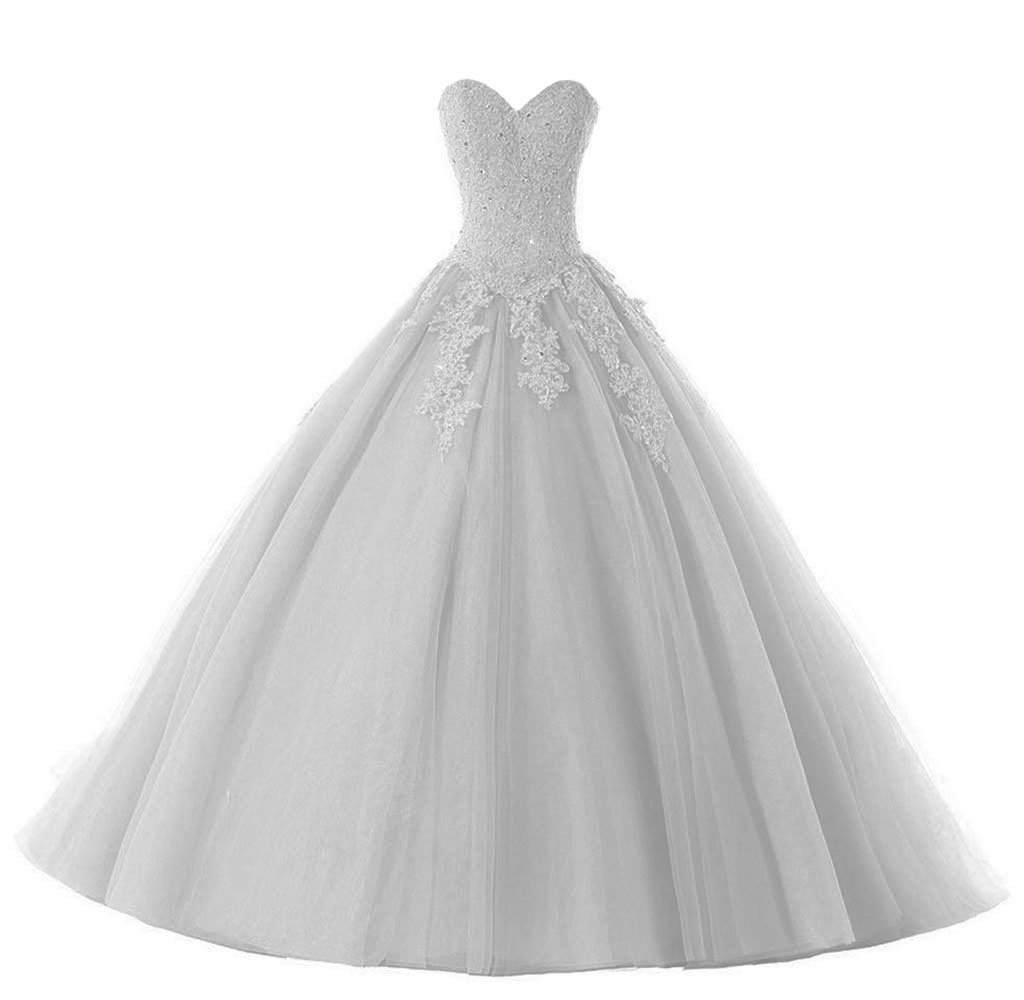 SMJ Women's Sweetheart Lace Appliques Quinceanera Dress Sweet 16 Quinceanera Prom Ball Gown SMJ034