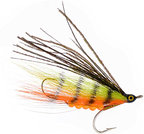 PEETZ Outdoors Fire Tiger 4-Inch Pro Grade McFly Fly Fishing Lure | Deceiver Streamer Bucktail Clouser Wet Freshwater Saltwater | Pike Bass Perch Walleye Salmon Trout Dorado Tarpin (Pike Streamer)