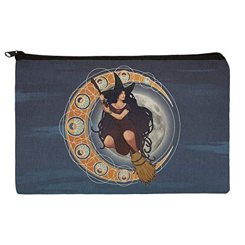 Cute Makeup For Halloween (Witch on Broom over Moon Art Nouveau Style Makeup Cosmetic Bag Organizer)