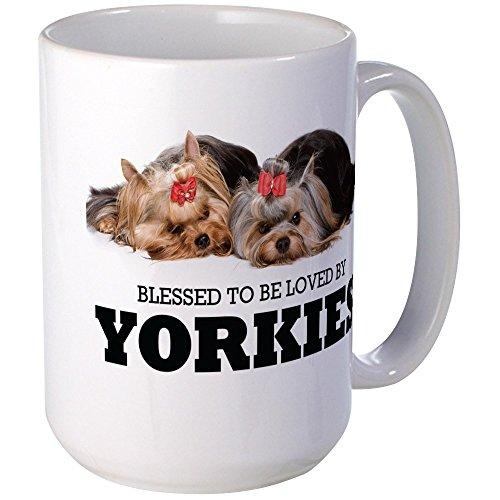 CafePress - Blessed By Yorkies Large Mug - Coffee Mug, Large 15 oz. White Coffee Cup