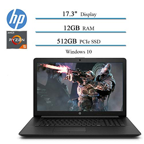 2020 Newest HP 17.3″ HD+ Premium Laptop Notebook Computer, AMD Ryzen 5 3500U 4-Core (Up to 3.7GHz, Beat i7-7500U ), 12GB RAM, 512GB PCIe SSD, AMD Radeon Vega 8, Bluetooth, WiFi, HDMI, Windows 10