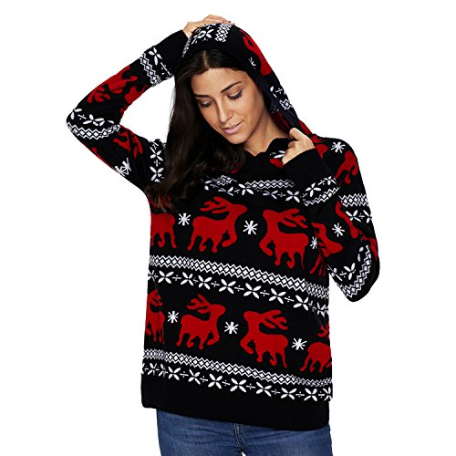 Domy Women's Ugly Christmas Sweater Hooded Reindeer Patterned ...