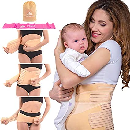 Postpartum Recovery Belly Wrap 3 Belts in 1 Post Pregnancy Support Band Girdle