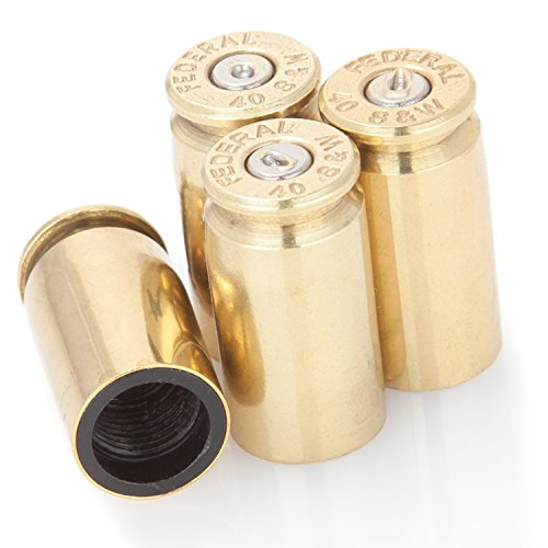 Lucky Shot Set of 4 Polished Brass 40 Caliber Bullet Valve Stem Caps