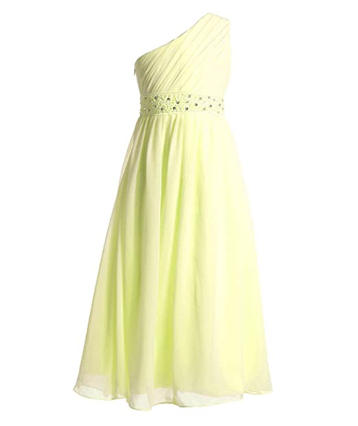Amazon.com: FAIRY COUPLE Girl\'s One Shoulder Chiffon Beaded Pageant ...