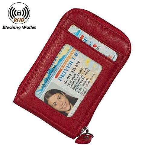Outside Pocket Card (Noedy RFID Blocking Credit Card Case Organizer Genuine Leather Zip-Around Security Wallet Maroon)