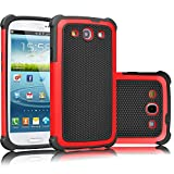 Galaxy S3 Case, Tekcoo(TM) [Tmajor Series] [Red/Black] Shock Absorbing Hybrid Rubber Plastic Impact Defender Rugged Slim Hard Case Cover Shell For Samsung Galaxy S3 S III I9300 GS3 All Carriers