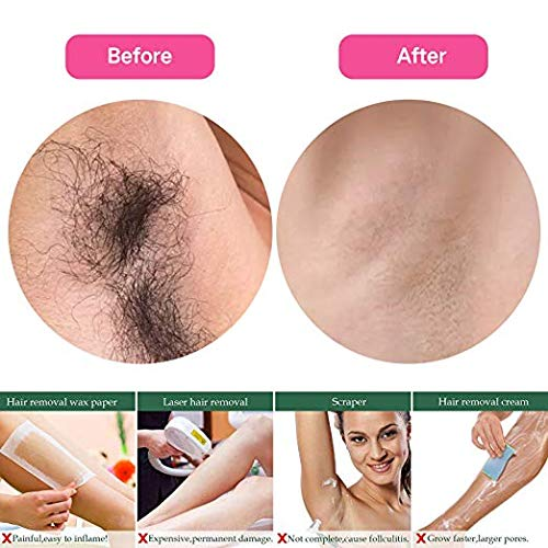 Hair Removal Kit Wax Warmer Hair Removal Waxing Kit - Professional at Home Waxing Kit - Wax Machine with with 4 Flavors Hard Wax Beans and 20 Wax Applicator Sticks for Painless Wax of Legs, Face, Body