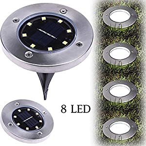 Fenleo 1Pc 8 LED Solar Powered Ground Lights, Outdoor lamp Waterproof LED Solar Buried Lights Path Lights Garden Landscape Spike Lighting for Yard Driveway Lawn Pathway (Cool White-1Pack)