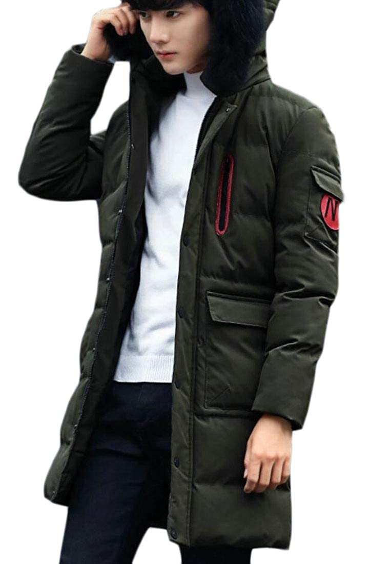 Jmwss QD Mens Quilted Faux-Fur Collar Winter Mid Long Length Front-Zip Down Jacket Coat
