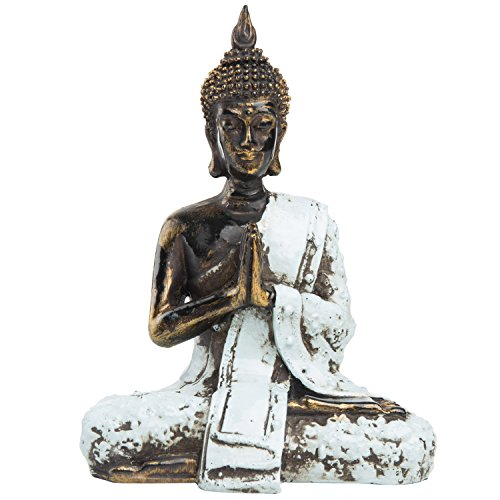 MyGift 7-Inch Bronze Resin Praying Meditating Thai Buddha Statue with Rustic Blue Attire Asian Oriental Feng Shui