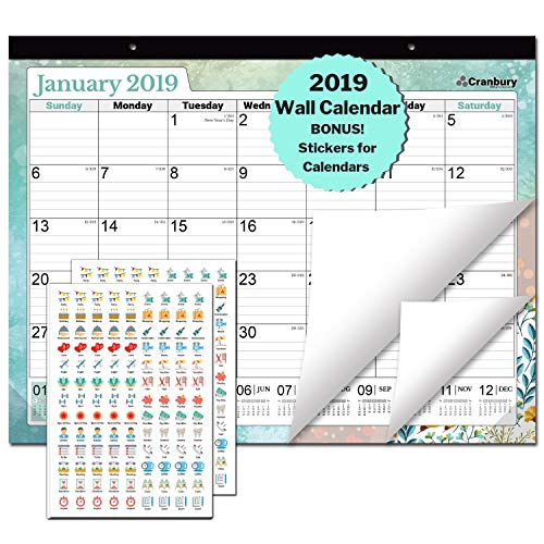 "Large Desk Calendar 2018-2019: 17.75 x 13.75"" Wall Calendar or Desktop 2019 Calendar (Colorful), Through December 2019, Stickers for Calendars, Monthly Calender by Cranbury"