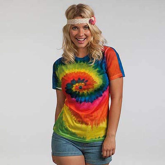 Camiseta de manga corta gruesa de efecto te/ñido con arcoiris para chica//mujer Colortone