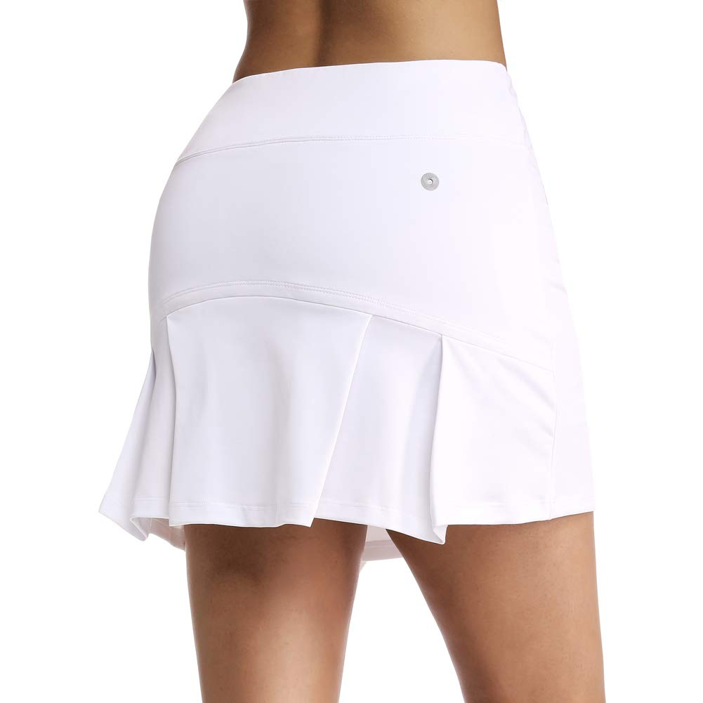 Ultrafun Women's Active Tennis Golf Skort Pleated Athletic Sports Running Skirt with Pockets and Shorts (White, XL-Waist:32.5-34.5'') by Ultrafun