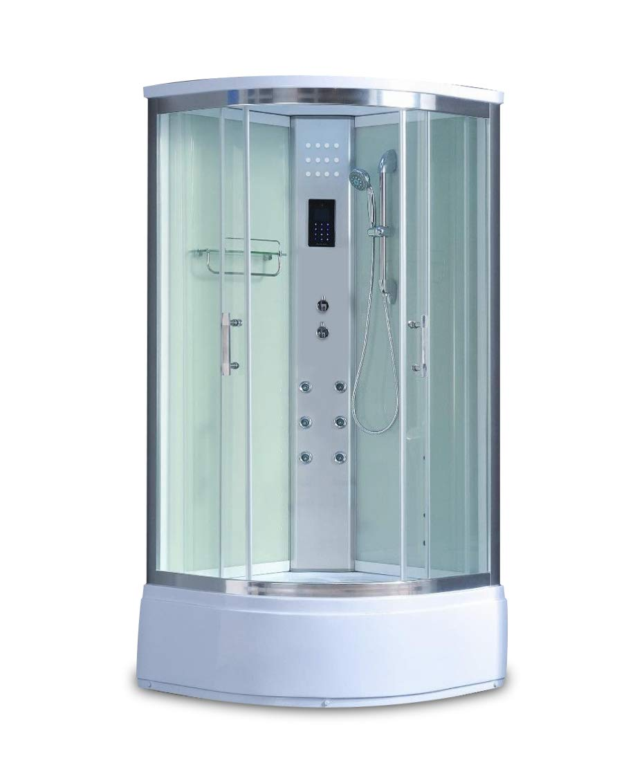 1001Now 8004-AS PURE Corner Steam Shower Enclosure with Hydro Massage Jets
