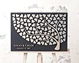 Susie85Electra 3D Rustic Wedding Guest Book Alternative Tree Personalized Couples Name and Date Wedding Guest Book Heart Signature for Country Wedding Decor