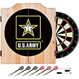 US Army Design Deluxe Solid Wood Cabinet Complete Dart Set