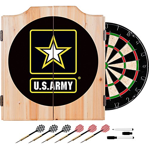 US Army Design Deluxe Solid Wood Cabinet Complete Dart Set by TMG