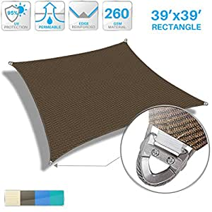 Patio Large Sun Shade Sail 39' x 39' Rectangle Heavy Duty Strengthen Durable Outdoor Canopy UV Block Fabric A-Ring Design Metal Spring Reinforcement 7 Year Warranty -Brown