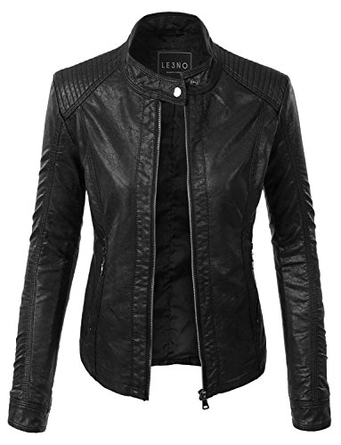 LE3NO Womens Leather Jacket Pockets product image