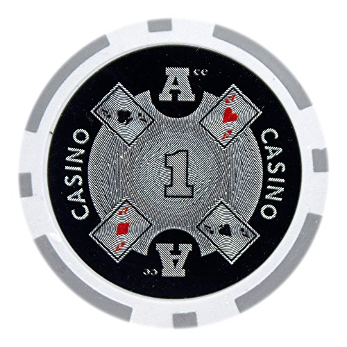 Brybelly Ace Casino Poker Chip Heavyweight 14-gram Clay Composite - Pack of 50 ($1 Gray) (1 Casino Chip Poker Chips)