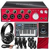 Focusrite Clarett 4Pre USB 18x6 USB Audio Interface with Novation Impulse 25 USB-MIDI Keyboard and Studio Monitor Platinum Bundle