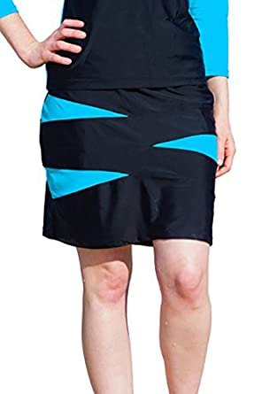 "38adcb75b2 HydroChic Regular Size 18.5"" Triangle Spliced Swim Skirt Small in  Black/Sea Blue"