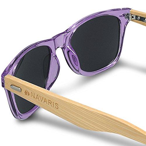 En Lunettes Violet Branches Lunettes femmes étui de différentes UV400 en Gris en bois hommes bois Navaris soleil bambou couleurs TIdPAqnP8