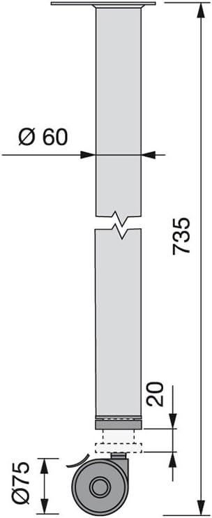 Emuca 2034625 Pied de table r/églable /Ø60x735mm avec roulette /à frein en acier peint aluminium