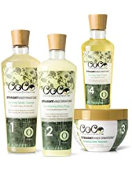 CoCo Conscious Collective Straight Transformations Bundle, 97-100% Natural Hair Products, Holistic Thermal Protection Sulfate and Paraben Free Hair Care System, (4) 6 to 12 ounce Full Size Products