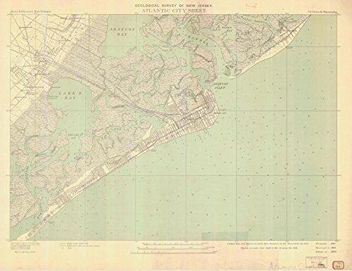 Map | Atlantic City, 1935 Nautical NOAA Chart | New Jersey (NJ) | Vintage Wall Art | 44in x 36in