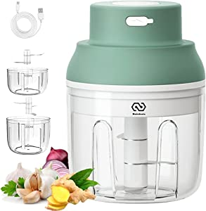 Portable Wireless Electric Garlic Chopper- Mini Rechargeable Food Processor Chopper with 2 Cup &2 Blades for Chop Onion Garlic Ginger Pepper Meat and Baby Food (Green)