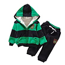 SODIAL(R) Baby Sports Suit Jacket Sweater Coat & Pants Thicken Kids Clothes Set Boys Girls Children Winter Wool Green 2T=90CM