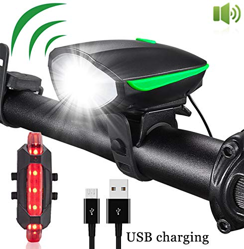 Super Bright Bike Lights, USB Rechargeable Bicycle Lights with Horn 3 Modes Headlight and 4 Modes Taillight for Night Riding Waterproof LED Bicycle Light with 2 USB Cables, Fast Install (Black)