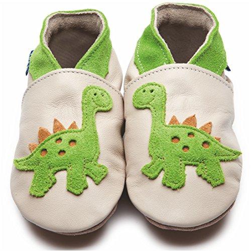 Zapatos Inch Blue de cuero blando crema y lim—n con dinosaurio, 12-18 meses Beige