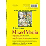 Strathmore 300 Series Mixed Media Pad, 5.5''x8.5'' Wire Bound, 40 Sheets