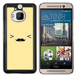KLONGSHOP // Cubierta de piel con cierre a presión Shell trasero duro de goma Protección Caso - cara sonriente bigote amarillo emoticono - HTC One M9Plus M9+ M9 Plus //