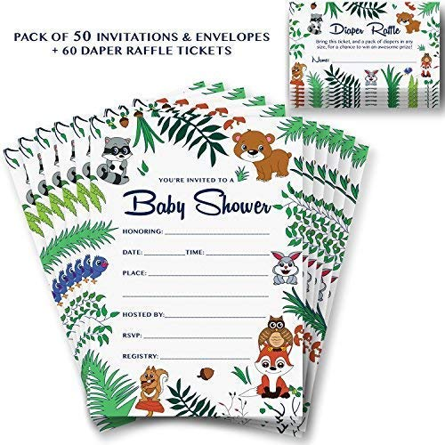 50 Animal Theme Invites /& Envelopes for a Girl Boy or Gender Neutral Party Alpine Choice Woodland Baby Shower Invitations /& Diaper Raffle Game