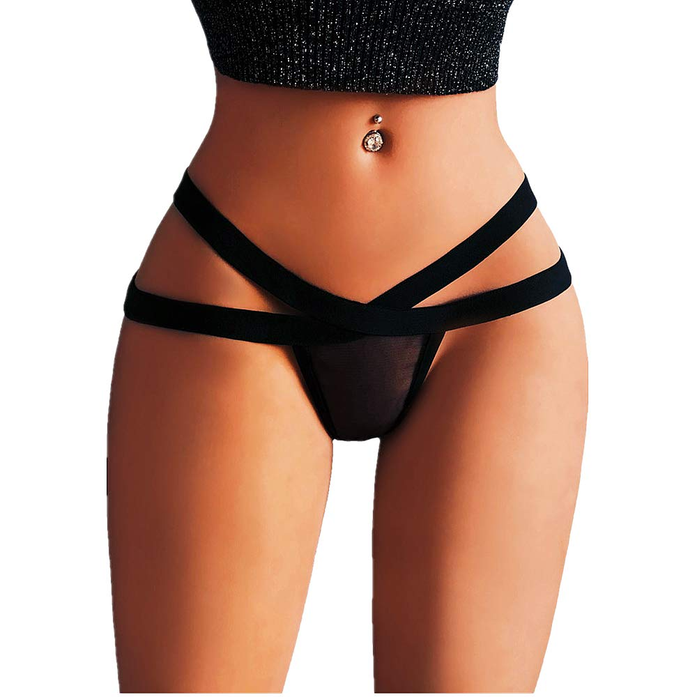 Pocciol Lace G-String,Womens Charming Thong Lingerie T-Back Panties Strappy Body Harness Panties (F, XXXXL)