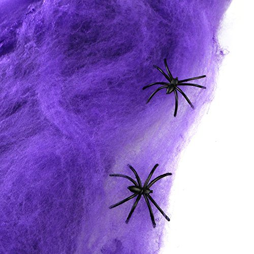 Livingly Light Party Supplies Super Stretch Spider Webbings Spooky Simulated Purple Cotton Web of Halloween Decorations, include 2 Little Spiders