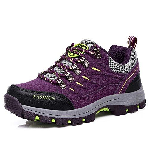 Kivors Couple Chaussures de Randonnée Outdoor Sport Basses Bottes Marche de Chaussures en Cuir pour Femme Homme Sport Trekking Voyage Violet hk5dxJP4