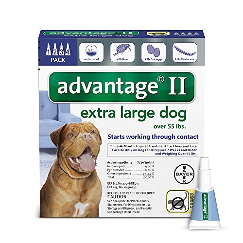 Bayer Advantage II Flea and Lice Treatment for X-Large Dogs, Over 55 lb, 4 doses