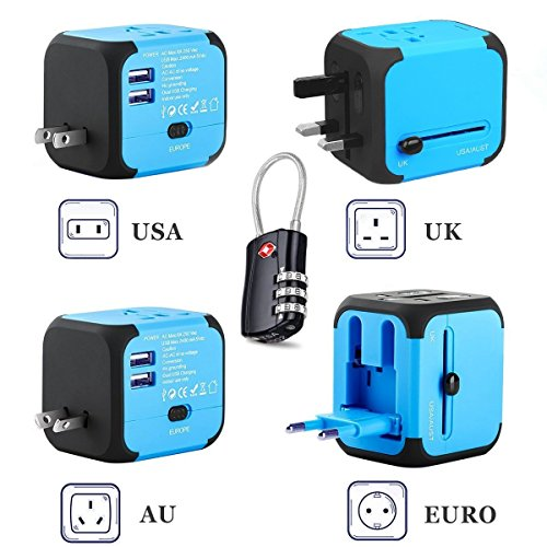 VOTRON International Travel Power Converter Adapter USB Charger Portable Universal Plug with 3 Digital Combination Luggage Cable Lock Worldwide AC Wall Outlet Socket for US EU UK AU