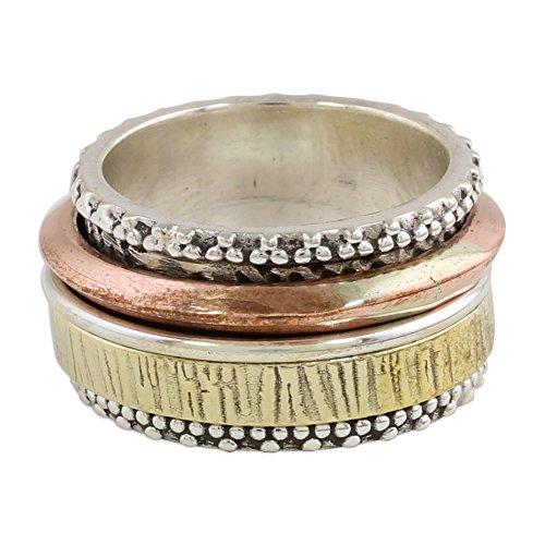 (NOVICA .925 Sterling Silver Meditation Spinner Ring 'Textured)
