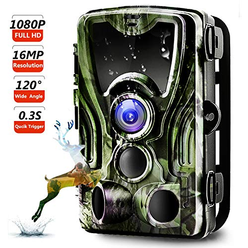 Trail Camera, Binrrio Game Hunting Camera with Night Vision Motion Activated 16MP 1080P Waterproof Outdoor Wildlife Camera 120° Detection, 0.3s Trigger 2.4 LCD IR LEDs